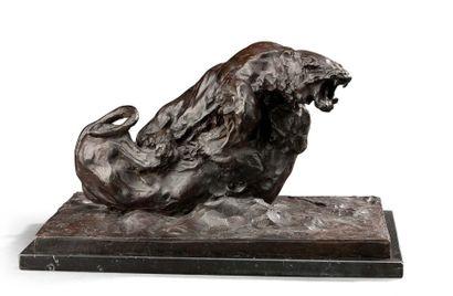 Guido RIGHETTI (1875-1958) Groupe en bronze ciselé à patine brune représentant deux...