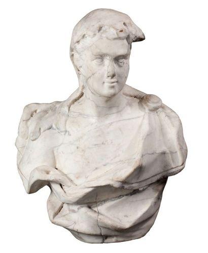 Buste en marbre blanc veiné gris représentant...