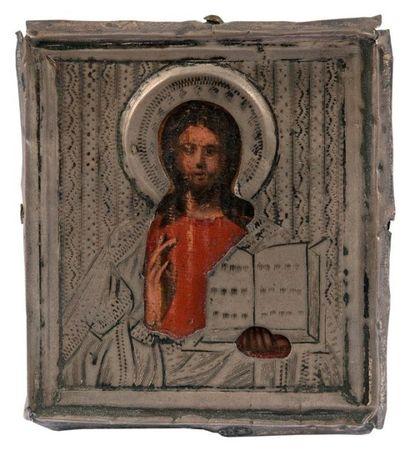 Deux icônes de voyage. Icône du Christ Pantocrator....