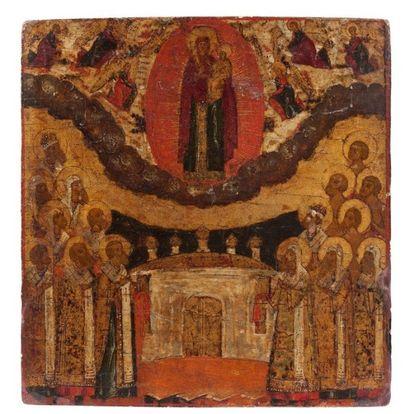 Icône de l'adoration de la Vierge. Russie....