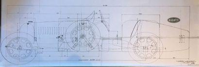 Reproduction sur papier du bleu d'usine détaillant...