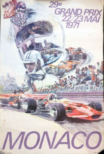 Affiche originale Grand Prix de Monaco 1971...