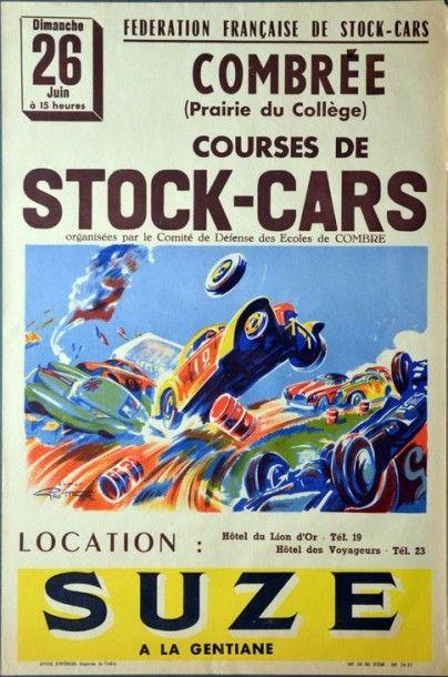 Affiche originale course de stock cars à...