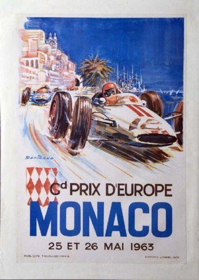 Affiche originale Grand Prix de Monaco 1963...
