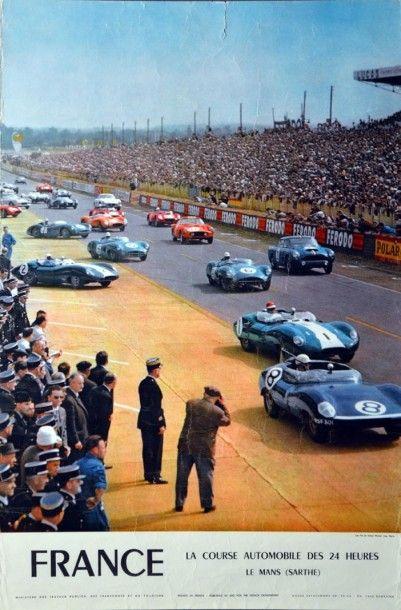 Affiche originale 24h du Mans 1960 40 x 60...