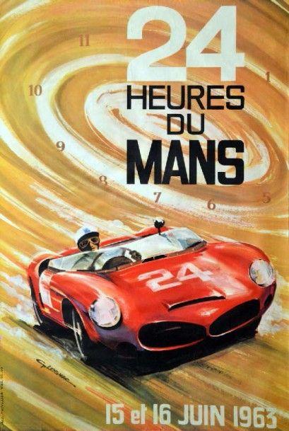 Affiche originale 24h du Mans 1963 40 x 60...