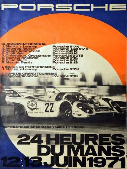 Affiche originale Victoire Porsche 917 aux...