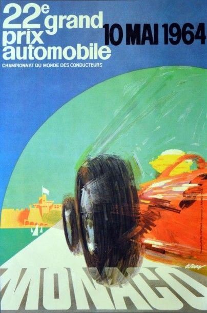Affiche originale Grand Prix de Monaco 1964...
