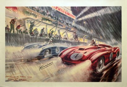 Affiche par Géo Ham 24h du Mans 1954 dédicacée...