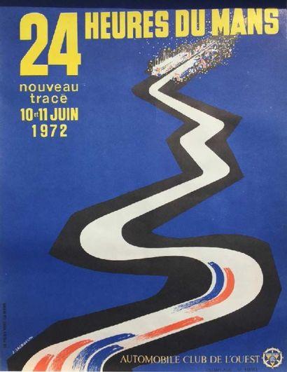 Affiche 24H DU MANS 1972 Imp. Le pilier Vert,...