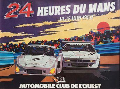 Affiche 24H DU MANS 1980 Imp. Lalende Courbet, Illustration Pascarel 53 X 38 cm....
