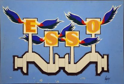 Gouache pour la marque ESSO Format 44 x 64...