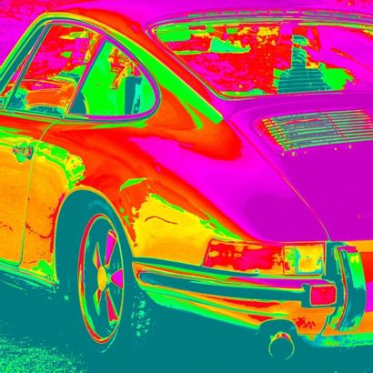 Peinture Porsche 911 pop art exemplaire unique...