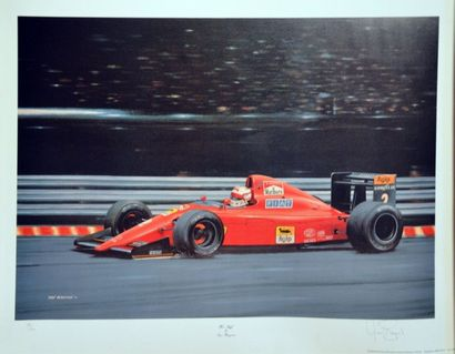 Lithographie de Nigel Mansell par YVAN BERRYMAN,...
