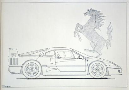Lithographie de Ferrari F40, Signée en bas...