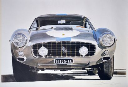 Lithographie représentant une Ferrari 250...