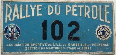 Plaque Rallye du Pétrole. Concurrent N° 102....
