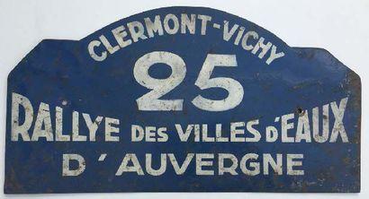 Plaque Rallye des Villes D'eaux d'Auvergne....