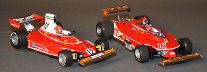 Lot de 2 Ferrari 312 T et 312 T4 en matière...