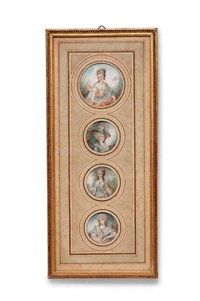 Ecole Française du XVIIIème siècle Suite de quatre miniatures sur ivoire représentant...