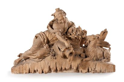 Important groupe sculpté en terre cuite représentant...