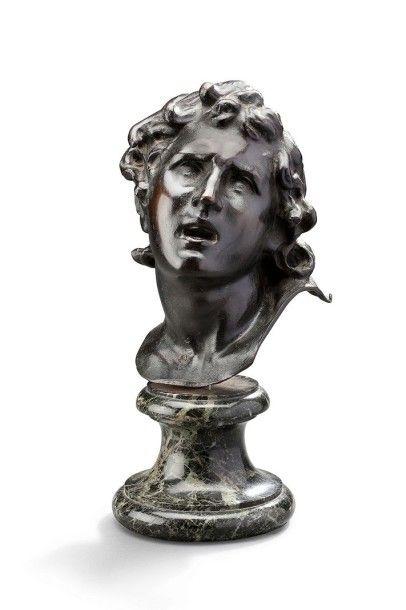 Sujet en bronze à patine brune représentant une tête de jeune homme probablement...