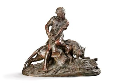 EDOUARD DROUOT (1859-1945) Le combat Epreuve en bronze à patine brune nuancée Signée...