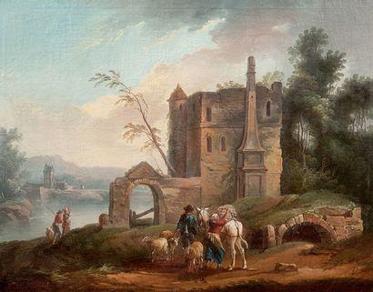 Ecole française de la fin du XVIIIème siècle, entourage d'Hubert ROBERT Le départ...