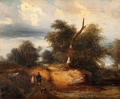 Ecole française de la fin du XVIIIème siècle, dans le goût de Jean PILLEMENT Paysage...