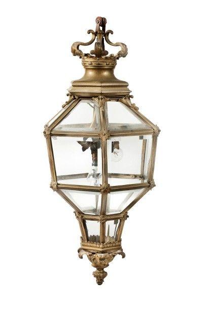Importante lanterne à pans coupé en bronze...
