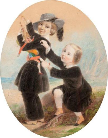 Enfants à la marionnette Pastel sur papier...