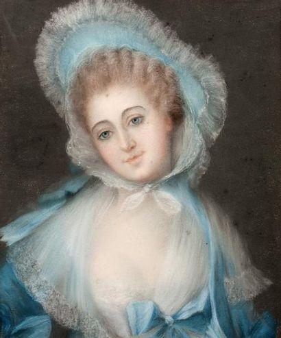 Ecole Française du XVIIIème siècle Portrait de femme à la robe bleue Pastel