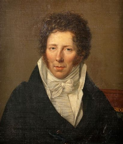 Julie PHILIPAULT (1780-1834) Portrait d'homme Toile marouflée sur panneau aggloméré...