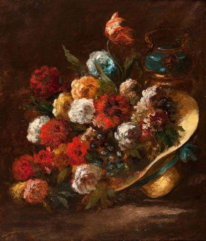 ECOLE FRANCAISE DU XIXème siècle Bouquet de fleurs au chapeau Huile sur toile 82...