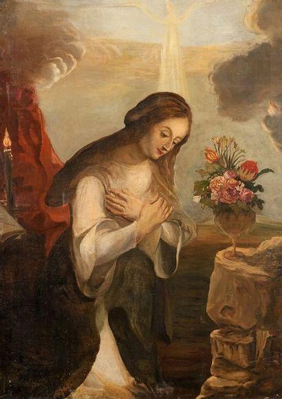 Ecole Italienne du XIXème siècle Vierge en prière Sur sa toile d'origine 140 x 100,5...
