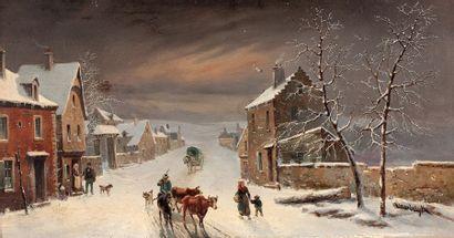 Henri Van WYK (1833-?) Rue en hivers Huile sur panneau, signée en bas à droite 22...
