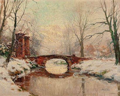 Kees TERLOUW (1890-1948) Paysage de neige Huile sur toile, signée en bas à droite...