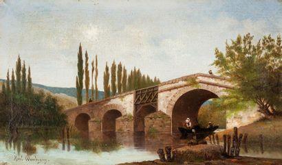 KARL PIERRE DAUBIGNY (1846-1886) Paysage animé au pont Huile sur toile, signée en...