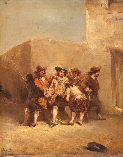 ECOLE FRANCAISE DU XIXème siècle Les brigands Huile sur panneau, signée en bas à...