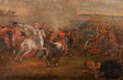 Ecole Italienne du XIXème siècle Combat de cavaliers turcs Sur sa toile d'origine...