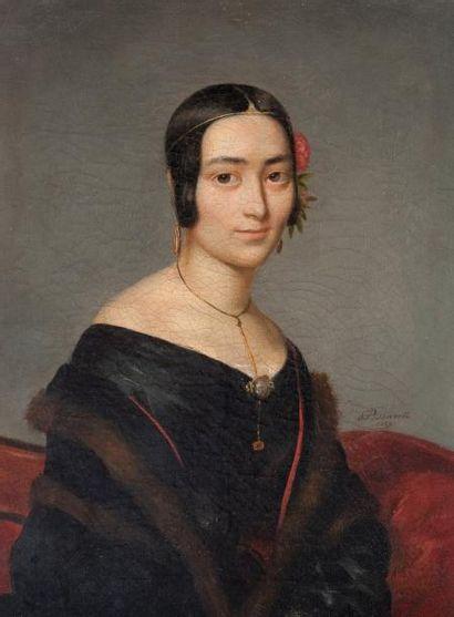 Pierre BONIROTE (1811-1891) Portrait de jeune fille à la fleur rouge Huile sur t...