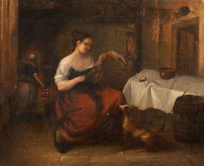 ECOLE FRANCAISE DU XIXème siècle Femme dans sa cuisine Toile 73,5 x 91 cm (resta...