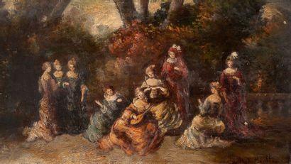 Adolphe Monticelli (1824-1886) Elégantes au parc Huile sur panneau, signée en bas...