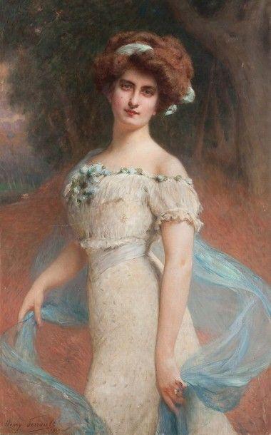 Henry PERRAULT (1867-1932) Femme au foulard bleu Huile sur toile Signée en bas à...