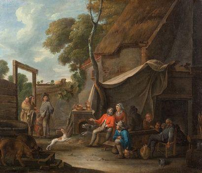 Ecole ROMAINE du XVIIIème siècle La diseuse de bonne aventure Toile 52,5 x 61,5 cm...