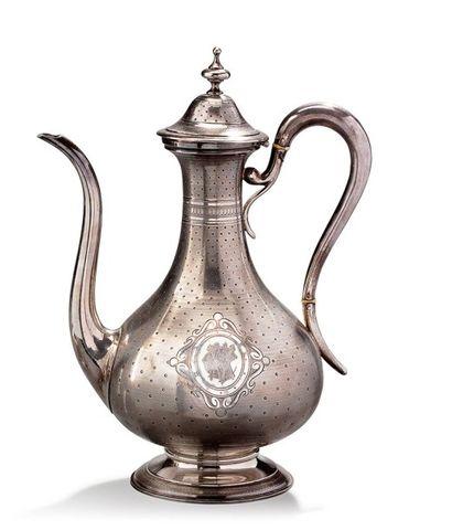 Verseuse à thé en argent chiffrée Poinçon...