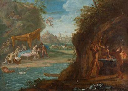 École ITALIENNE vers 1720 La naissance de Bacchus Sur sa toile d'origine 24,5 x 33...