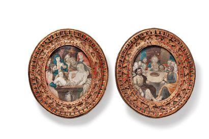 Ecole française du XIXème siècle Deux peintures...