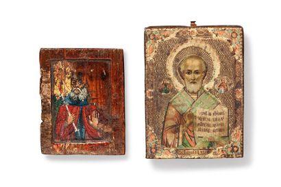 Petites icones de voyage peinte en polychormie sur bois Fin XVIIIème siècle 7 x...