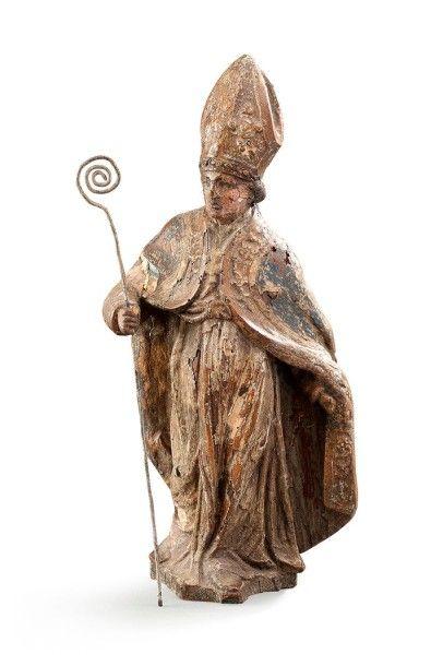 Sujet religieux en bois sculpté polychrome...